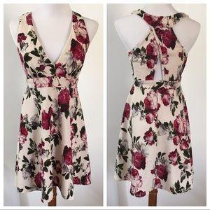 Cream Floral Deep V-Neck Skater Dress